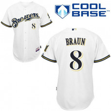 YOUTH Milwaukee Brewers #8 Ryan BraunWhite Home Cool Base Jersey