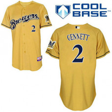 Milwaukee Brewers #2 Scooter Gennett Authentic Gold Alternate Cool Base Jersey