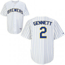 Milwaukee Brewers #2 Scooter Gennett Authentic White Pinstripe Jersey