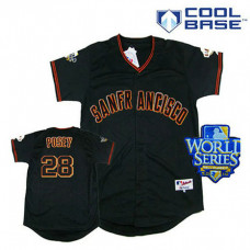 San Francisco Giants #28 Buster Posey Black Cool Base 2010 World Series Patch Jersey