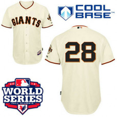San Francisco Giants #28 Buster Posey Cool Base Cream with 2012 World Series Patch Jersey