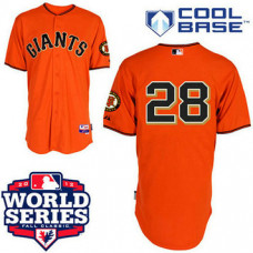 San Francisco Giants #28 Buster Posey Cool Base Orange with 2012 World Series Patch Jersey