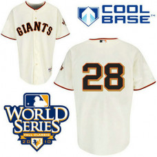 San Francisco Giants #28 Buster Posey Cream Cool Base 2010 World Series Patch Jersey