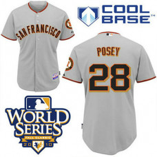 San Francisco Giants #28 Buster Posey Grey Cool Base 2010 World Series Patch Jersey