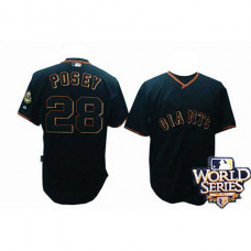 YOUTH San Francisco Giants #28 Buster PoseyBlack 2010 World Series Patch Jersey