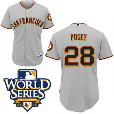 YOUTH San Francisco Giants #28 Buster PoseyGrey 2010 World Series Patch Jersey