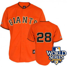YOUTH San Francisco Giants #28 Buster PoseyOrange 2010 World Series Patch Jersey