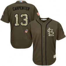 St. Louis Cardinals #13 Matt Carpenter Olive Camo Jersey