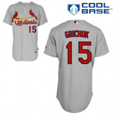 St. Louis Cardinals #15 Randal Grichuk Grey Cool Base Away Jersey