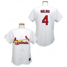 Women - St. Louis Cardinals #4 Yadier Molina White Fashion Jersey