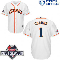 Houston Astros #1 Carlos Correa White Cool Base Home Jersey
