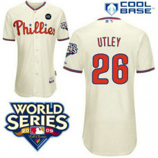 Philadelphia Phillies #26 Chase Utley Cream ManCool Base with 2009 World Series HK Patch Jersey