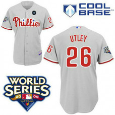 Philadelphia Phillies #26 Chase Utley Grey ManCool Base with 2009 World Series HK Patch Jersey