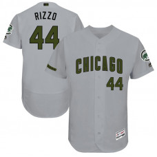 Anthony Rizzo #44 Chicago Cubs 2017 Memorial Day Grey Flex Base Jersey