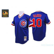 Chicago Cubs #10 Ron Santo Blue Throwback Jersey