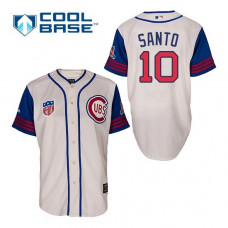 Chicago Cubs #10 Ron Santo Cream 1942 Throwback Jersey