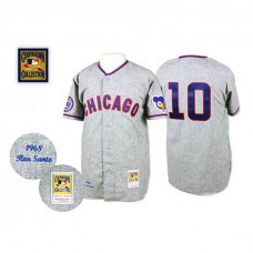 Chicago Cubs #10 Ron Santo Grey Road Throwback Authentic Jersey