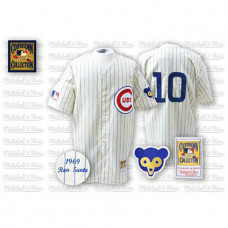 Chicago Cubs #10 Ron Santo White Home Throwback Jersey
