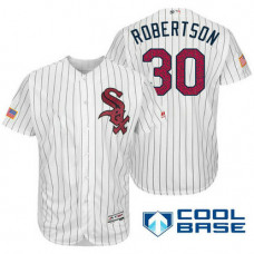 Chicago White Sox #30 David Robertson White Stars & Stripes 2016 Independence Day Cool Base Jersey