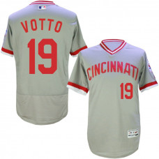 Cincinnati Reds #19 Joey Votto Grey 1976 Throwback Road Flexbase Jersey