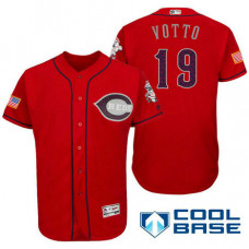 Cincinnati Reds #19 Joey Votto Red Stars & Stripes 2016 Independence Day Cool Base Jersey