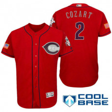 Cincinnati Reds #2 Zack Cozart Red Stars & Stripes 2016 Independence Day Cool Base Jersey