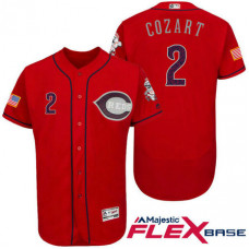 Cincinnati Reds #2 Zack Cozart Red Stars & Stripes 2016 Independence Day Flex Base Jersey