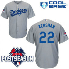Los Angeles Dodgers #22 Clayton Kershaw Grey Cool Base Away Jersey