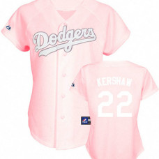 Women - Los Angeles Dodgers #22 Clayton Kershaw Pink Lady Fashion Jersey
