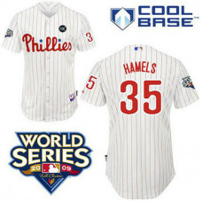 YOUTH Philadelphia Phillies #35 Cole Hamels Cool BaseWhite with 2009 World Series HK Patch Jersey