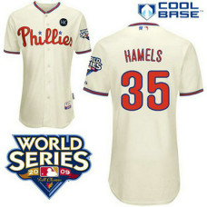 YOUTH Philadelphia Phillies #35 Cole HamelsCream Cool Base with 2009 World Series HK Patch Jersey