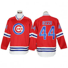 Anthony Rizzo #44 Chicago Cubs Red Long Sleeve Cool Base Jersey