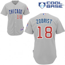 Ben Zobrist #18 Chicago Cubs Grey Cool Base Jersey
