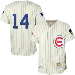 Chicago Cubs #14 Ernie Banks Cream 1969 Throwback Turn Back the Clock Authentic Player Jersey