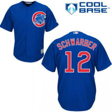 Chicago Cubs #12 Kyle Schwarber Blue Alternate Cool Base Jersey