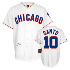 Chicago Cubs #10 Ron Santo White 1968 Throwback Turn Back the Clock Authentic Player Jersey