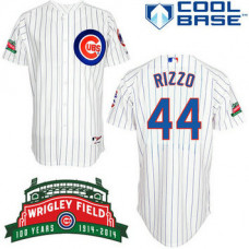 YOUTH Chicago Cubs #44 Anthony RizzoAuthentic White Home Cool Base Jersey