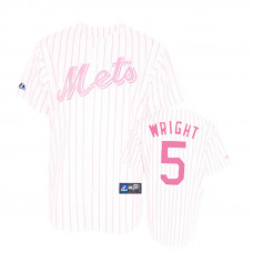 Women - New York Mets #5 David Wright White(Pink Strip)Fashion Jersey