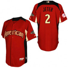 New York Yankees #2 Derek Jeter American League 2011 All Star BP Red Jersey