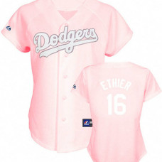 Women - Los Angeles Dodgers #16 Andre Ethier Pink Lady Fashion Jersey