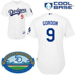 Los Angeles Dodgers #9 Dee Gordon White Home Cool Base Jersey