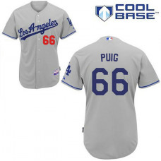 YOUTH Los Angeles Dodgers #66 Yasiel PuigAuthentic Grey Away Cool Base Jersey