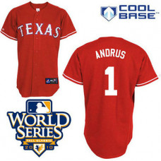 Texas Rangers #1 Elvis Andrus Red Cool Base 2010 World Series Patch Jersey