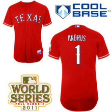Texas Rangers #1 Elvis Andrus Red Alternate 1 Cool Base 2011 World Series Patch Jersey