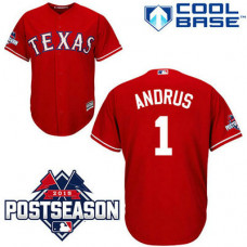 Texas Rangers #1 Elvis Andrus Red Cool Base Alternate Jersey