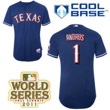 Texas Rangers #1 Elvis Andrus Blue Alternate 2 Cool Base 2011 World Series Patch Jersey