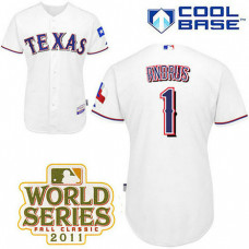 Texas Rangers #1 Elvis Andrus White Home Cool Base 2011 World Series Patch Jersey