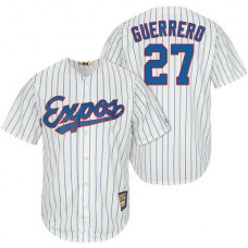 Montreal Expos #27 Vladimir Guerrero White/Royal Cooperstown Player Cool Base Jersey