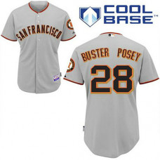 San Francisco Giants #28 Buster Posey Grey Away Cool Base Jersey