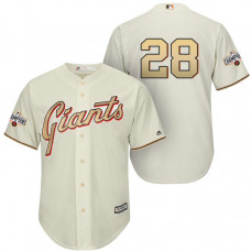 San Francisco Giants #28 Buster Posey Cream Cool Base Player Gold Jersey